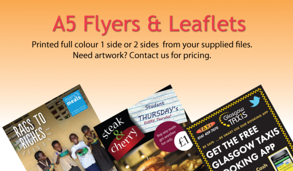 Commercial printers glasgow brochures and flyers glasgow a5 flyers leaflets reheart Gallery